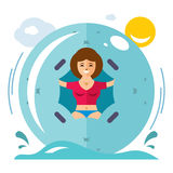 Vector Water Zorbing Concept. Flat style colorful Cartoon illustration. Royalty Free Stock Photos