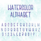 Vector watercolor. Abstract alphabet. Letters with blue background. Hand drawn font Stock Photos