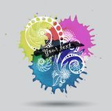 Vector watercolor abstract design with doodle Stock Images
