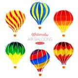 Vector Watercolor air balloons Stock Image