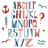 Vector watercolor alphabet in marine style. Royalty Free Stock Image