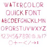 Vector watercolor alphabet with numbers and Stock Image