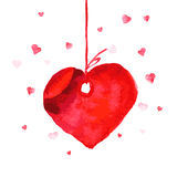 Vector watercolor artistic heart symbol illustration. Heart shape red color hand drawn sign isolated on white backdrop. Good for love card, valentine day Royalty Free Stock Image