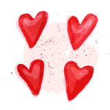 Vector watercolor artistic heart symbol illustration. Heart shape red color hand drawn sign isolated on white backdrop. Good for love card, valentine day Royalty Free Stock Photos