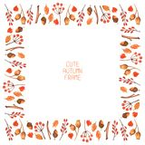 Vector watercolor autumn frame. Illustration. Royalty Free Stock Photo