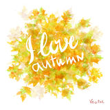 Vector watercolor autumn leaves maple leaf flora Royalty Free Stock Images