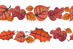 Vector Watercolor autumn Leaves seamless border. Royalty Free Stock Image