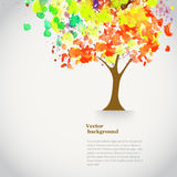 Vector watercolor autumn tree  with spray paint. Autumnal theme Stock Photo