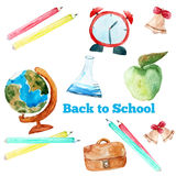 Vector watercolor back to school poster with Stock Image
