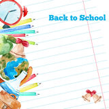 Vector watercolor back to school poster with Royalty Free Stock Images