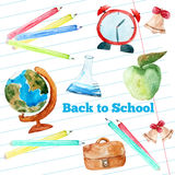 Vector watercolor back to school poster with Stock Photos