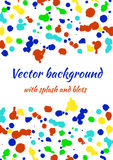 Vector watercolor background with colorful ink blots, splash and brush strokes. Colorful creative artistic template for card, layout, cover. Rainbow colors royalty free illustration