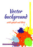 Vector watercolor background with colorful ink blots, splash and brush strokes Royalty Free Stock Image