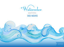 Vector watercolor background. Horizontal  seamless vector patter Royalty Free Stock Images