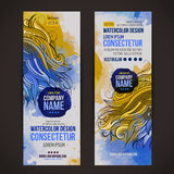 Vector watercolor baners stock illustration