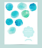 Vector watercolor banner, card with circles. Abstract watercolor Stock Photos