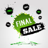 Vector watercolor banner with ink splashes. SALE poster. Stock Images