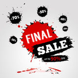 Vector watercolor banner with ink splashes. SALE poster. Vector illustration Royalty Free Stock Image