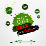 Vector watercolor banner with ink splashes. SALE poster. Royalty Free Stock Image