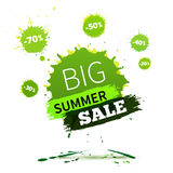 Vector watercolor banner with ink splashes. SALE poster. Stock Photos