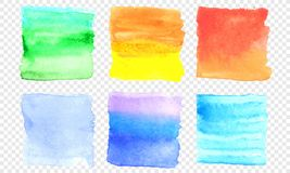 Vector watercolor banner set. Color square smear of watercolour splash stain on transparent background. Round hand drawn watercolor background with yellow Stock Photography