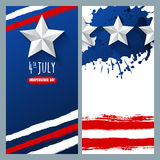 Vector watercolor banners and backgrounds. 4th of July, USA Independence Day. Watercolor USA flag on white and blue background. Design for greeting card Royalty Free Stock Image