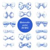 Vector watercolor bows. Set of blue watercolor bows. Vector illustration Stock Photo