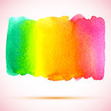 Vector watercolor bright rainbow banner with shadow Stock Image