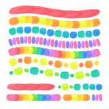 Vector Watercolor Brushes Set. Isolated on White. Used pattern brushes included Royalty Free Stock Image