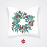 Vector watercolor burberry wreath with red berries Royalty Free Stock Photography