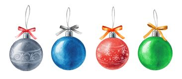 Vector Watercolor Christmas balls isolated on white background. Holiday design elements. Silver, blue, red, green balls. Watercolor Christmas balls isolated on Royalty Free Stock Images