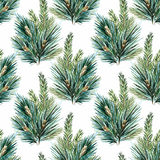 Vector watercolor christmas tree pattern Stock Photography