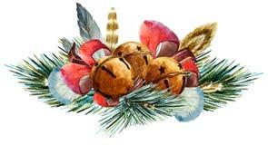 Vector watercolor christmas wreath Stock Photo