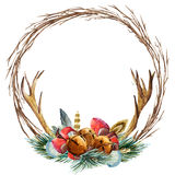 Vector watercolor christmas wreath Royalty Free Stock Photography