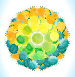 Vector watercolor circle with colorful rainbow blobs. Stock Photo