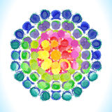 Vector watercolor circle with colorful rainbow blobs. Stock Photos