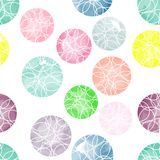 Vector watercolor circles with ornaments seamless pattern. Stock Photo