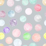 Vector watercolor circles with ornaments seamless pattern. Royalty Free Stock Photo