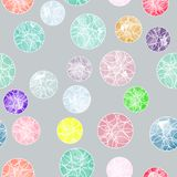 Vector watercolor circles with ornaments seamless pattern. Royalty Free Stock Images