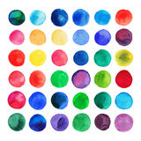 Vector watercolor circles. Retro hand drawn circles ornament. Round shapes. Color cell. round shapes. Geometric painted ornament. Grunge colorful rounds shapes Stock Illustration