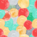 Vector watercolor circles seamless pattern. Retro hand drawn circles ornament. Round shapes pattern. Round shapes. Painted ornament. Grunge colorful rounds Stock Illustration