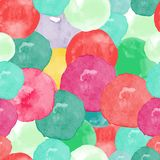 Vector watercolor circles seamless pattern. Retro hand drawn circles ornament. Round shapes pattern. Round shapes. Painted ornament. Grunge colorful rounds Royalty Free Illustration