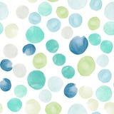 Vector watercolor circles seamless pattern. Tiled. Retro hand drawn circles ornament. Round shapes pattern. Round shapes. Painted ornament. Grunge colorful Royalty Free Illustration