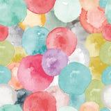 Vector watercolor circles seamless pattern. Tiled. Retro hand drawn circles ornament. Round shapes pattern. Round shapes. Painted ornament. Grunge colorful Stock Illustration
