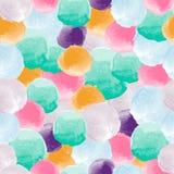 Vector watercolor circles seamless pattern. Tiled. Retro hand drawn circles ornament. Round shapes pattern. Round shapes. Painted ornament. Grunge colorful Vector Illustration