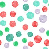 Vector watercolor circles seamless pattern. Retro hand drawn circles ornament. Round shapes pattern. Round shapes. Painted ornament. Grunge colorful rounds Vector Illustration