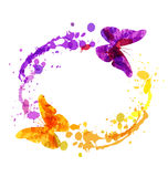 Vector watercolor circular frame with butterflies Royalty Free Stock Image