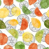 Vector watercolor citrus fruit seamless pattern background with sliced oranges, limes and lemons on black line art slices. ESP10 file with transparency mode stock illustration