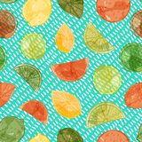 Vector watercolor citrus fruit seamless pattern background with sliced oranges, limes and lemons. ESP10 file with transparency mode vector illustration