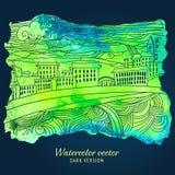 Vector watercolor cityscape card Stock Photos